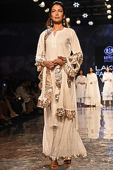 White Kamdani Embroidered Sharara Set by House of Kotwara