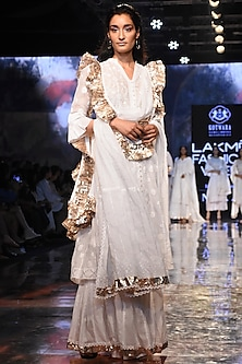 White Embroidered Choga Set by House of Kotwara