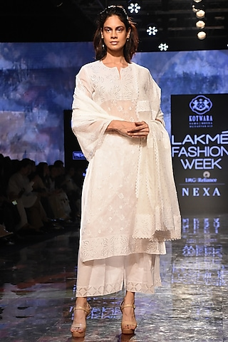 White Embroidered & Pleated Kurta Set by House of Kotwara