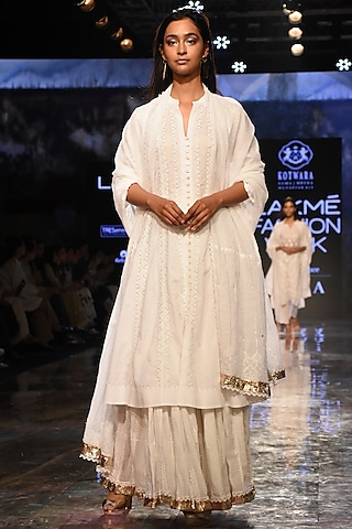 White Embroidered & Pleated Choga With Pants & Dupatta by House of Kotwara