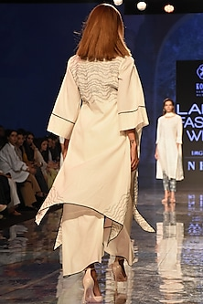 Ivory Asymmetric Embroidered Kurta With Overlapping Pants by House of Kotwara