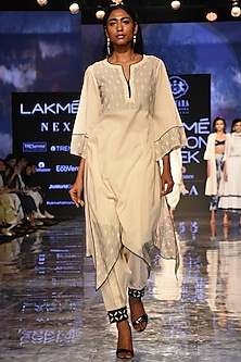 Ivory Asymmetric Kurta With Embroidered Pants by House of Kotwara