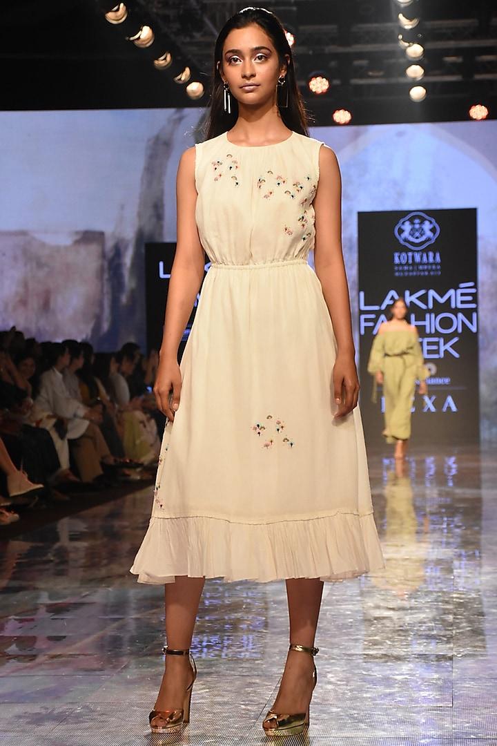 Ivory Chikankari Kamdani Embroidered Dress by House of Kotwara