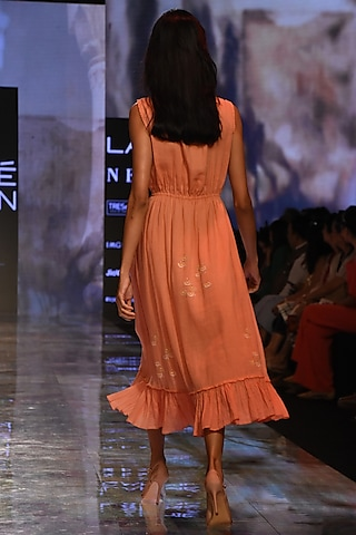 Coral Embroidered & Pleated Dress by House of Kotwara