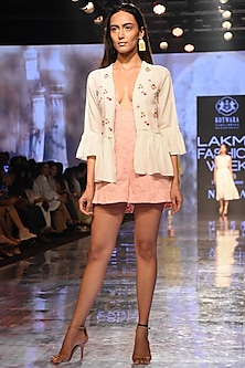 White Embroidered Jacket With Gathers by House of Kotwara