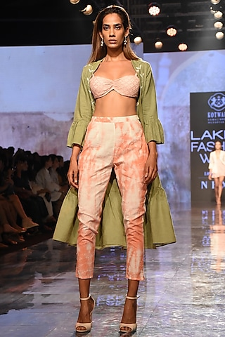 Olive Green Peplum Jacket With Bralette & Pants by House of Kotwara