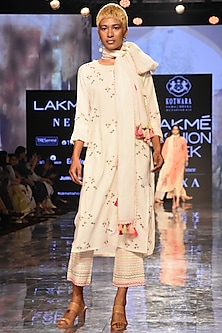 Ivory Chikankari Kurta Set by House of Kotwara