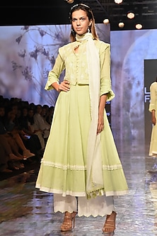 Green Anarkali Set With Embroidered Waistcoat by House of Kotwara