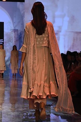 Grey Peshwaz Kurta Set With Embroidered Waistcoat by House of Kotwara