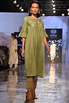 Green Gathered Kurta With Pants & Slip by House of Kotwara
