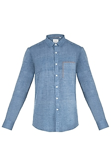 Chambray blue colour blocked shirt by KOS