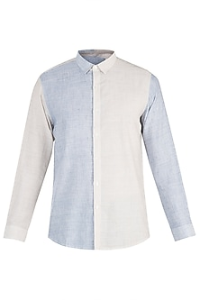Beige and blue textured shirt by KOS