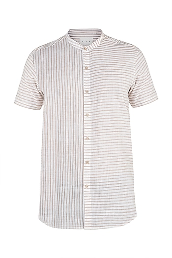 White and beige khadi striped shirt by KOS