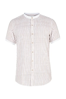 White and beige striped shirt by KOS