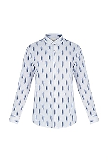 White and blue ikat shirt by KOS