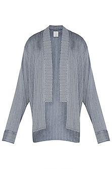 Blue and grey kimono overlay jacket by KOS