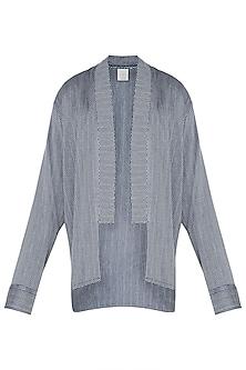 Blue and grey kimono overlay jacket by KOS
