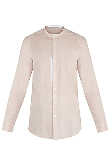 Beige color blocked shirt by KOS