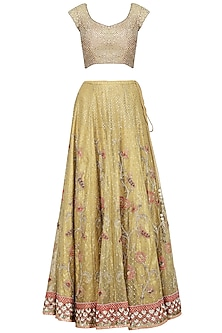 Yellow and Pink Embroidered Lehenga Set by Kotwara by Meera and Muzaffar Ali