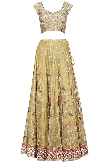 Yellow and Pink Embroidered Lehenga Set by House of Kotwara