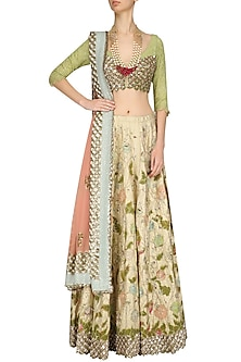 Gold and Peach Pink Zari and Sequins Embroidered Lehenga Set by Kotwara by Meera and Muzaffar Ali