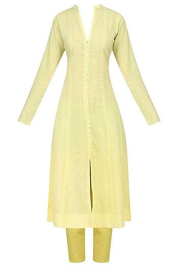 Lime Green Ombre Applique Kurta and Pants Set by House of Kotwara