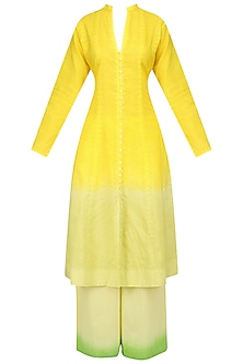 Yellow and Green Ombre Applique Kurta and Palazzo Pants Set Set by Kotwara by Meera and Muzaffar Ali