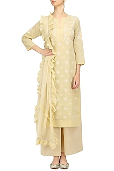 Beige and White Chikankari Work Kurta Set by Kotwara by Meera and Muzaffar Ali