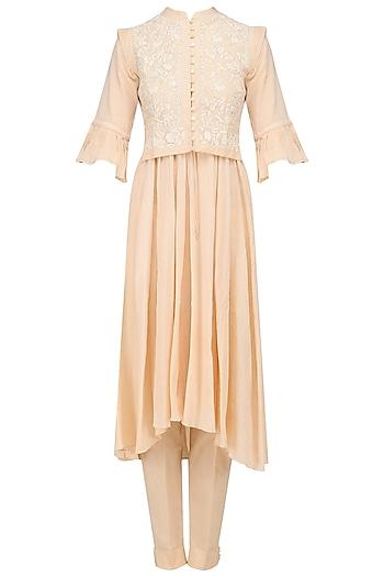 Peach Peshwaz Kurta, Pants and Floral Embroidered Waistcoat Set by Kotwara by Meera and Muzaffar Ali