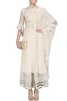Ivory Brocade Kurta, Pants and Zardozi Waistcoat Set by Kotwara by Meera and Muzaffar Ali