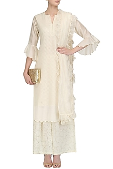 Ivory Brocade Chanderi Straight Kurta Set by Kotwara by Meera and Muzaffar Ali