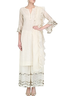 Ivory Brocade Kurta and Floral Embroidered Pants Set by Kotwara by Meera and Muzaffar Ali