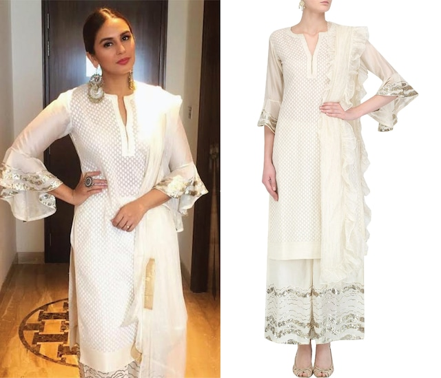 Ivory Brocade Kurta and Floral Embroidered Pants Set by House of Kotwara