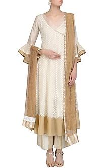 Ivory Angrakha Kurta, Pants and Inner Set by Kotwara by Meera and Muzaffar Ali