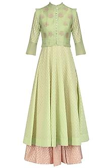 Pista Green Waistcoat, Woven Chanderi Peshwas and Skirt Set by Kotwara by Meera and Muzaffar Ali