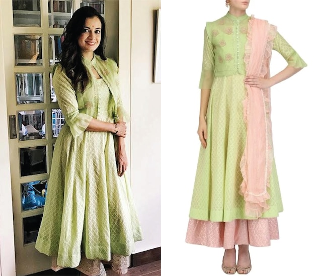 Pista Green Waistcoat, Woven Chanderi Peshwas and Skirt Set by House of Kotwara