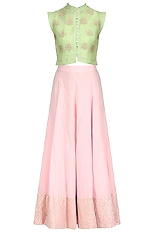 Pista Green Waistcoat and Lurex Patchwork Skirt Set by Kotwara by Meera and Muzaffar Ali