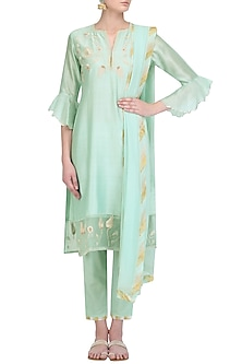 Mint Blue Zardozi Embroidered Kurta and Crop Pants Set by House of Kotwara