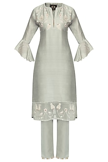 Grey Zardozi Embroidered Tulip Kurta Set by House of Kotwara