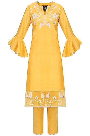 Yellow Zardozi Embroidered Tulip Kurta Set by House of Kotwara