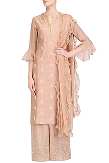 Rose Pink Brocade Chanderi Straight Kurta Set by Kotwara by Meera and Muzaffar Ali