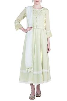 Green waistcoat with peshwas kurta, dupatta and pants by Kotwara by Meera and Muzaffar Ali