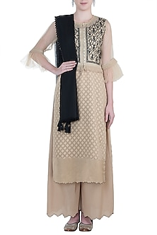 Beige waistcoat with kurta, scarf and pajama by Kotwara by Meera and Muzaffar Ali
