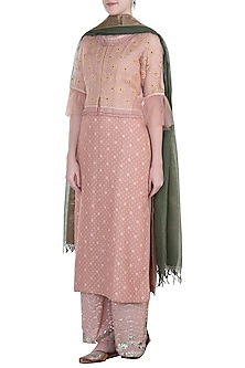 Vintage rose embroidered waistcoat with kurta, pants and dupatta by Kotwara by Meera and Muzaffar Ali