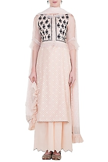 Pink embroidered waistcoat with kurta, pants and dupatta by Kotwara by Meera and Muzaffar Ali