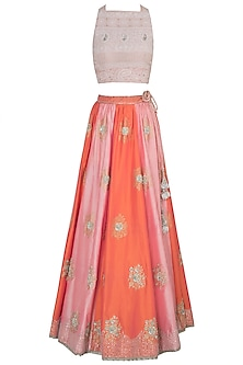 Pink and peach embroidered lehenga set by Kotwara by Meera and Muzaffar Ali