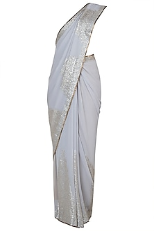 Grey embroidered saree by Kotwara by Meera and Muzaffar Ali