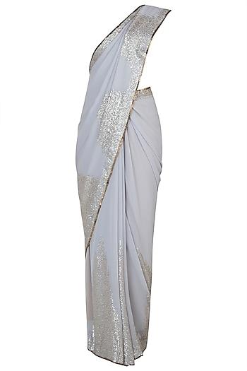 Grey embroidered saree by House of Kotwara