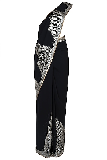 Black embroidered saree by Kotwara by Meera and Muzaffar Ali