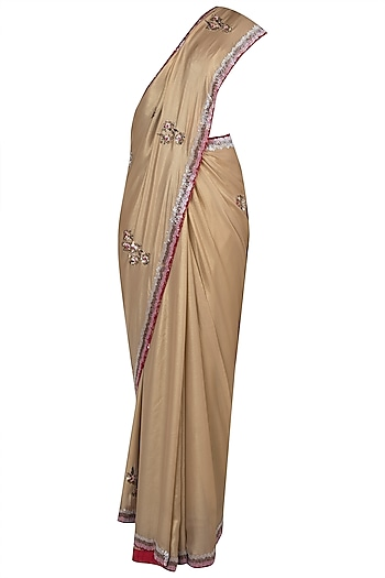 Gold embroidered saree by House of Kotwara